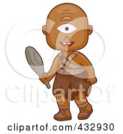 Royalty Free RF Clipart Illustration Of A Cyclops Boy Carrying A Club by BNP Design Studio