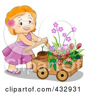Royalty Free RF Clipart Illustration Of A Cute Girl Pushing A Cart Of Flowers