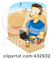 Royalty Free RF Clipart Illustration Of A Young Man Talking On A Cell Phone And Using A Laptop On A Beach Balcony by BNP Design Studio
