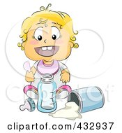 Royalty Free RF Clipart Illustration Of A Baby Girl Mixing Baby Formula