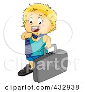 Royalty Free RF Clipart Illustration Of A Little Boy Wearing A Tie And Carrying A Briefcase by BNP Design Studio