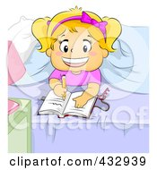 Royalty Free RF Clipart Illustration Of A Happy Girl Writing In Her Diary In Her Room