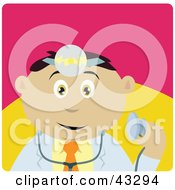 Clipart Illustration Of A Mexican Doctor Man Holding A Stethoscope