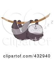 Royalty Free RF Clipart Illustration Of A Cute Baby Sloth Hanging From A Vine And Sleeping