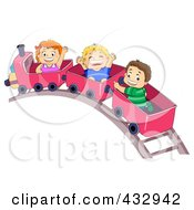 Royalty Free RF Clipart Illustration Of A Girl And Two Boys On A Train Ride by BNP Design Studio