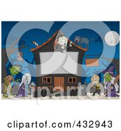 Royalty Free RF Clipart Illustration Of A Halloween Monsters By A Haunted House With A Blank Sign