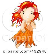 Royalty Free RF Clipart Illustration Of A Cute Fairy With Fiery Hair