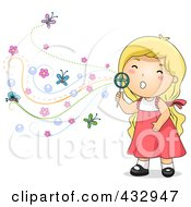 Royalty Free RF Clipart Illustration Of A Blond Girl Blowing Floral Bubbles by BNP Design Studio