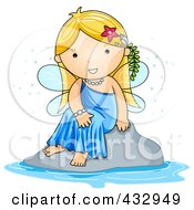 Royalty Free RF Clipart Illustration Of A Cute Fairy Sitting By Water