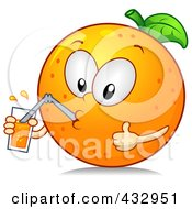 Royalty Free RF Clipart Illustration Of An Orange Character Drinking A Glass Of Juice