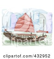 Royalty Free RF Clipart Illustration Of A Sketched Boat In Hong Kong
