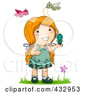 Royalty Free RF Clipart Illustration Of A Girl Playing With Birds Outside