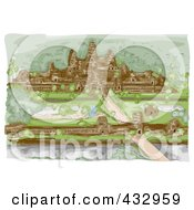 Royalty Free RF Clipart Illustration Of A Sketch Of The Angkor Wat Temple