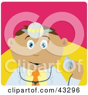 Clipart Illustration Of A Latin American Doctor Man Holding A Stethoscope