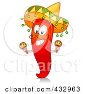 Royalty Free RF Clipart Illustration Of A Red Hot Chili Pepper Character Shaking Maracas