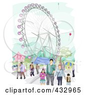 Royalty Free RF Clipart Illustration Of A Sketch Of A Family In An Amusement Park