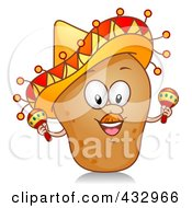 Potato Character Wearing A Sombrero And Shaking Maracas