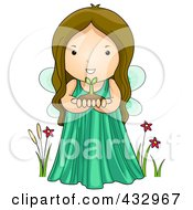 Royalty Free RF Clipart Illustration Of A Cute Fairy Holding A Plant And Soil