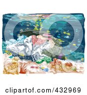 Royalty Free RF Clipart Illustration Of A Sketch Of An Underwater Scene