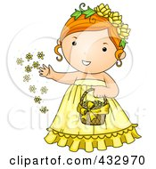 Royalty Free RF Clipart Illustration Of A Flower Girl In A Yellow Dress