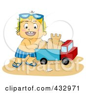 Royalty Free RF Clipart Illustration Of A Happy Boy Pushing A Sand Castle In A Dump Truck Toy On A Beach by BNP Design Studio
