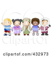 Royalty Free RF Clipart Illustration Of A Group Of Diverse Children From Different Cultures Holding Hands by BNP Design Studio