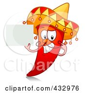 Red Hot Chili Pepper Character Holding A Blank Sign