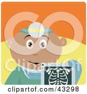Clipart Illustration Of A Hispanic Radiologist Man Holding An Xray