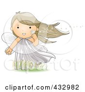Royalty Free RF Clipart Illustration Of A Cute Fairy Holding A Dandelion In The Wind by BNP Design Studio