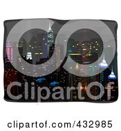 Royalty Free RF Clipart Illustration Of A Sketch Of A City At Night