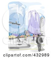 Royalty Free RF Clipart Illustration Of A Sketch Of People Walking In A City