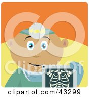 Clipart Illustration Of A Latin American Radiologist Man Holding An Xray