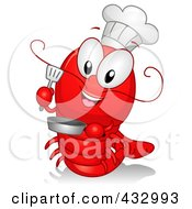 Royalty Free RF Clipart Illustration Of A Lobster Chef Cooking by BNP Design Studio