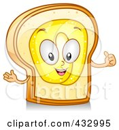 Royalty Free RF Clipart Illustration Of A Buttered Toast Character Gesturing by BNP Design Studio