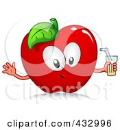 Red Apple Character Holding A Glass Of Juice