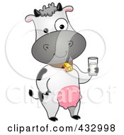 Royalty Free RF Clipart Illustration Of A Cow Standing With A Glass Of Milk