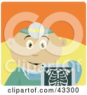 Clipart Illustration Of A Mexican Radiologist Man Holding An Xray
