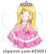 Royalty Free RF Clipart Illustration Of A Girl In A Princess Dress