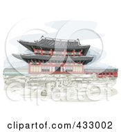Royalty Free RF Clipart Illustration Of A Sketch Of A Temple In Korea