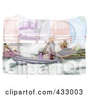 Royalty Free RF Clipart Illustration Of A Sketch Of The Floating Market In Vietnam