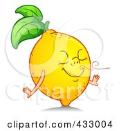 Royalty Free RF Clipart Illustration Of A Happy Lemon Smelling A Fresh Scent by BNP Design Studio