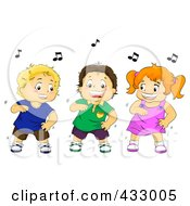 Royalty Free RF Clipart Illustration Of A Girl And Two Boys Dancing Together