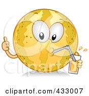 Royalty Free RF Clipart Illustration Of A Melon Character Drinking Juice