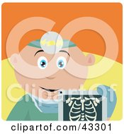 Clipart Illustration Of A Caucasian Radiologist Man Holding An Xray