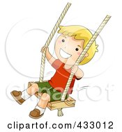 Royalty Free RF Clipart Illustration Of A Happy Boy Playing On A Swing