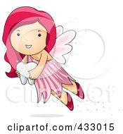 Pink Haired Tooth Fairy Carrying A Tooth