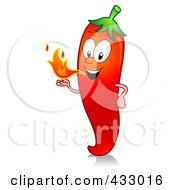 Red Hot Chili Pepper Character Blowing Fire