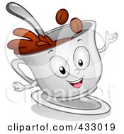 Royalty Free RF Clipart Illustration Of A Coffee Cup Character Gesturing