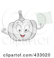 Royalty Free RF Clipart Illustration Of A Garlic Character Holding A Blank Sign by BNP Design Studio