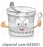 Royalty Free RF Clipart Illustration Of A Yogurt Character Gesturing by BNP Design Studio